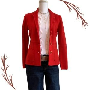 Talbots Red Sweater Jacket Gold Tone Button Accent